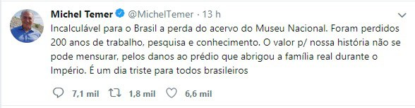 Nota do Presidente Michel Temer no Twitter