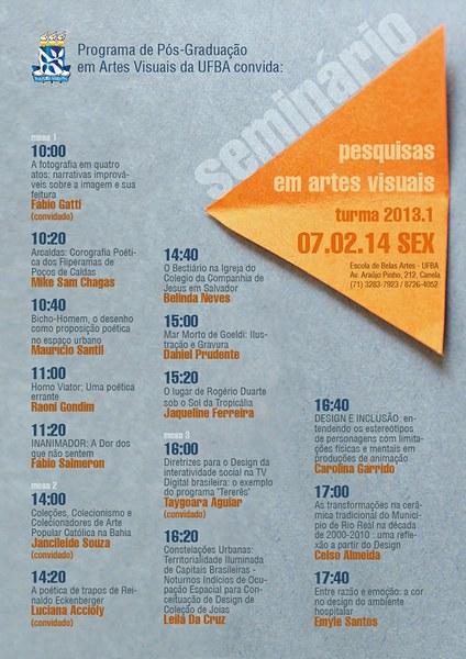 Seminário PESQUISAS EM ARTES VISUAIS. PPGAV-EBA-UFBA