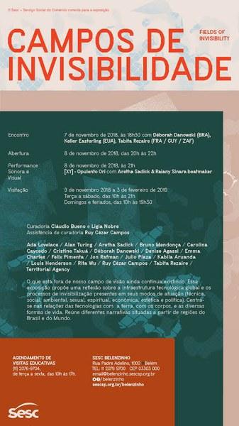 Convite 'Campos de Invisibilidade': Encontro (7nov) e Exposição (8nov), Sesc Belenzinho- São Paulo