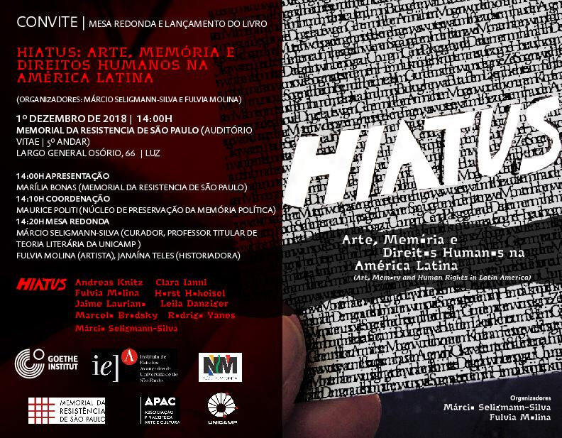 CONVITE: Mesa-redonda e lançamento de livro: HIATUS - ARTE, MEMÓRIA E DIREITOS HUMANOS NA AMÉRICA LATINA