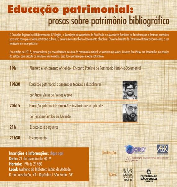 Educação patrimonial: prosas sobre patrimônio bibliográfico