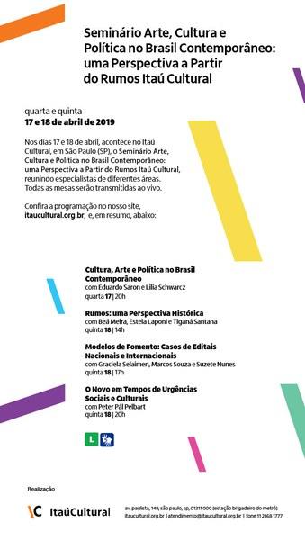 Seminário Arte, Cultura e Política no Brasil Contemporâneo: uma Perspectiva a Partir do Rumos Itaú Cultural