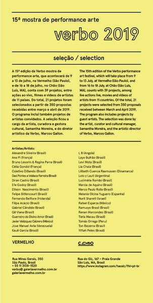 Verbo 2019: seleção de artistas / selection of artists