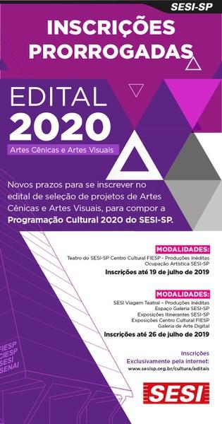 Prorrogado! Edital da Programação Cultural 2020 do SESI-SP, inscreva-se!