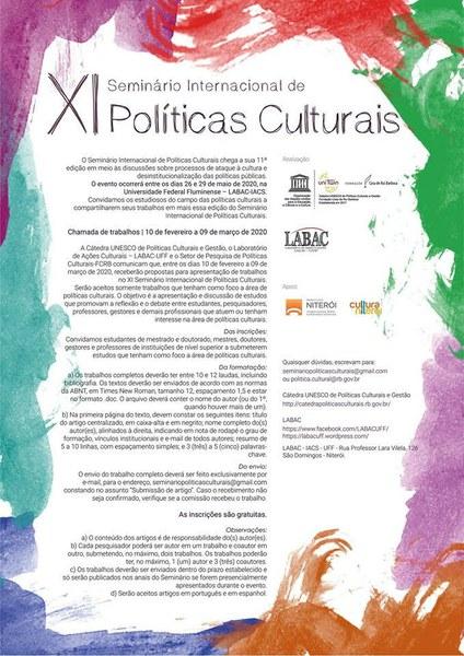 CHAMADA XI SEMINÁRIO INTERNACIONAL DE POLÍTICAS CULTURAIS