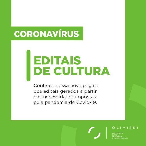 Editais de Cultura durante o Coronavírus