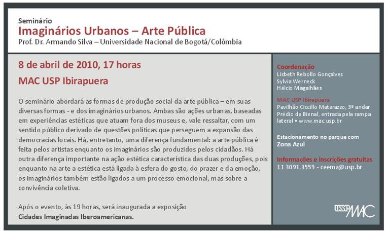 Seminário Imaginários Urbanos - Arte Pública - MAC USP Ibirapuera