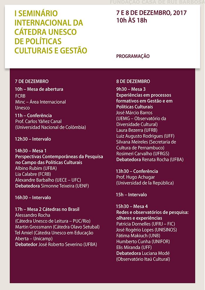 CONVITE - I SEMINÁRIO INTERNACIONAL DA CÁTEDRA UNESCO DE POLÍTICAS CULTURAIS E GESTÃO