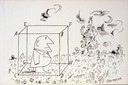 """steinberg drawing """"cube's dream"""" 1960"""